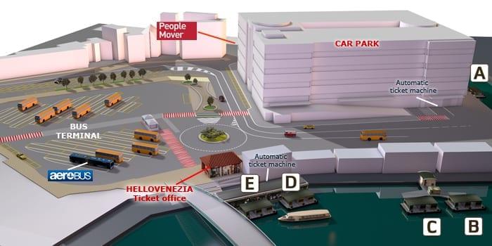 Schemat transportu publicznego i parkingów na Piazzale Roma/visitvenice.