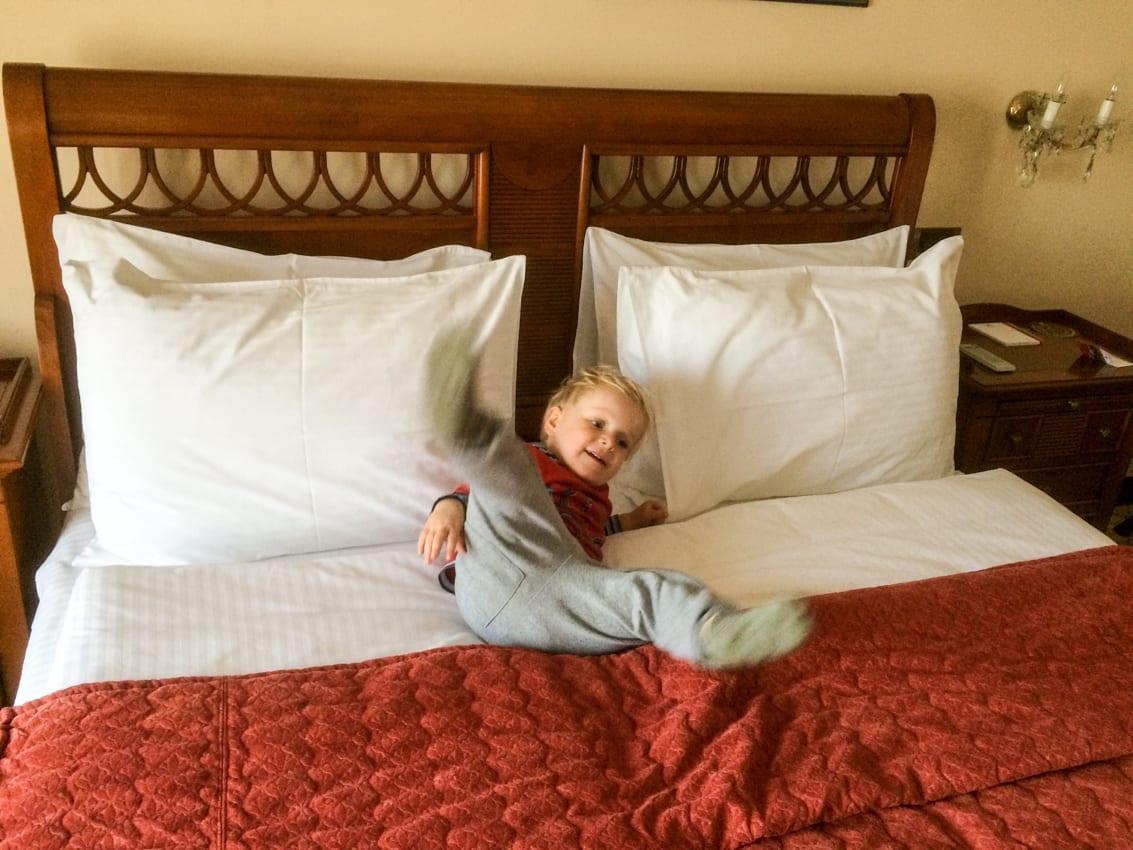 Chruczek testuje łóżko w hotelu Allure