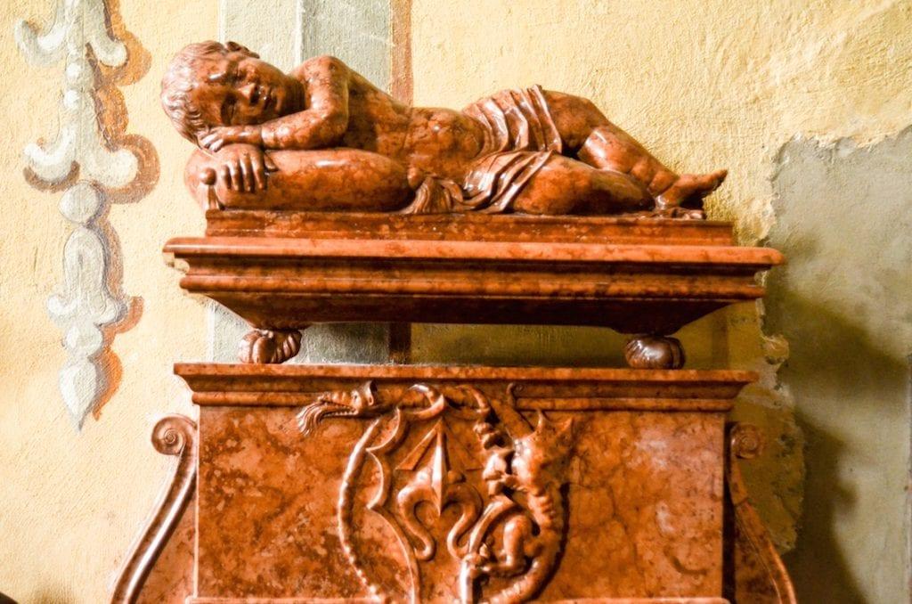 Nagrobek synka Krzysztofa Szydłowieckiego, pierwszy w Polsce przykład takiego rodzaju rzeźby Renesansowej.