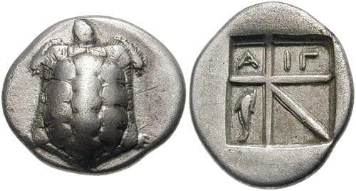 Egińskie drachmy fot. Wikipedia
