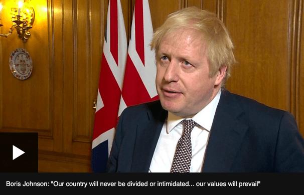 Boris Johnson przemawia po ataku terrorystycznym w Londynie.